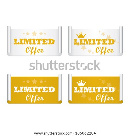Limited offer yellow labels and stickers with crown and little star around Isolated on White Background- vector  - stock photo
