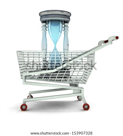 limited time to shopping concept isolated illustration - stock photo