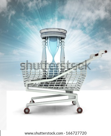 limited time to shopping concept with sky illustration - stock photo