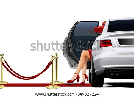 Limousine Arrival with lady in red attire  - stock photo