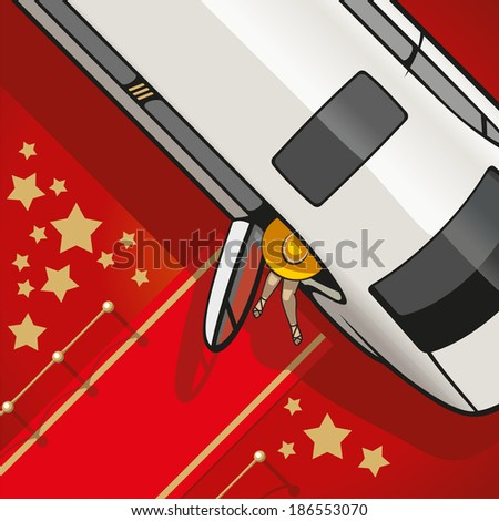 Limousine brings a very important person on the red carpet. - stock photo