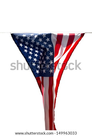 Limp American flag without wind on a white background
