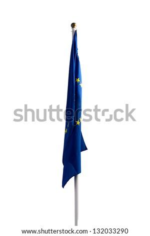 Limp European Union flag without wind on white background - stock photo