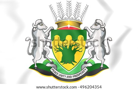 Limpopo Province coat of arms, South Africa. 3D Illustration.