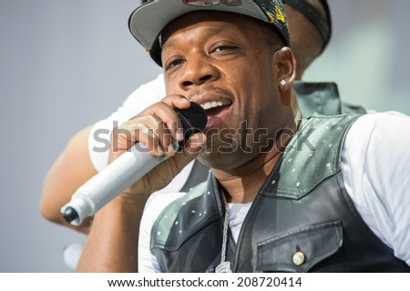 LINCOLN, CA - August 1: Michael Bivins of New Edition performs at Thunder Valley Casino Resort in Lincoln, California on August 1, 2014 - stock photo