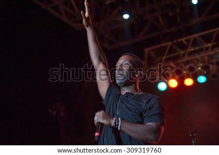 LINCOLN, CA - August 22: Shawn Stockman of Boyz II Men performs at Thunder Valley Casino Resort in in Lincoln, California on August 22, 2015 - stock photo
