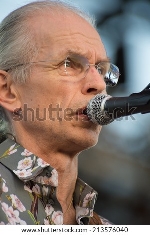 LINCOLN, CA - August 23: Steve Howe of the band Yes performs at Thunder Valley Casino Resort in Lincoln, California on August 23, 2014 - stock photo