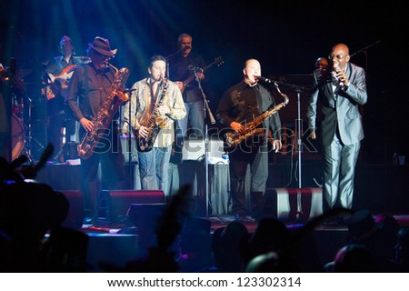 LINCOLN, CA - DEC 31: Tower of Power brings in the New Year at Thunder Valley Casino Resort in Lincoln, California on December 31, 2012 - stock photo
