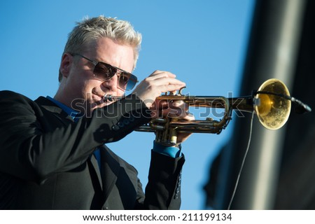 LINCOLN, CA - July 26: Chris Botti performs at Thunder Valley Casino Resort in Lincoln, California on July 26, 2014 - stock photo