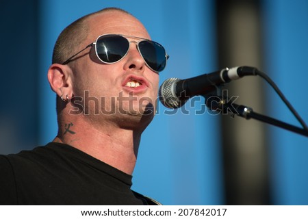 LINCOLN, CA - July 25: Corey Taylor of Slipknot performs in support of That Metal Show featuring Anthrax and Living Colour at Thunder Valley Casino Resort in Lincoln, California on July 25, 2014
