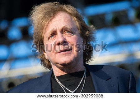 LINCOLN, CA - July 31: Eddie Money and his children,Jesse, Dez and Julian perform at Thunder Valley Casino Resort in in Lincoln, California on July 31, 2015 - stock photo