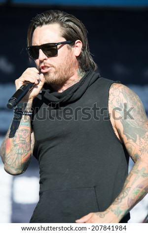 LINCOLN, CA - July 25: James Hart of Burn Halo performs in support of That Metal Show at Thunder Valley Casino Resort in Lincoln, California on July 25, 2014 - stock photo