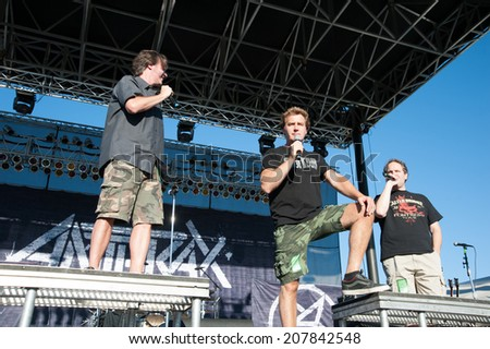 LINCOLN, CA - July 25: (LR) Don Jamieson, Jim Florentine and Eddie Trunk emcee  That Metal Show with Anthrax and Living Colour at Thunder Valley Casino Resort in Lincoln, California on July 25, 2014 - stock photo