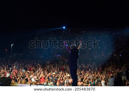 LINCOLN, CA - July 12: Randy Owen of country band Alabama performs at Thunder Valley Casino Resort in Lincoln, California on July 12, 2014 - stock photo