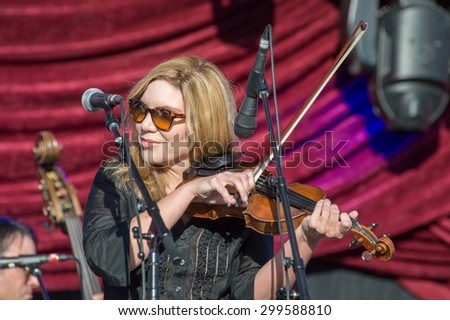 LINCOLN, CA - June 17: Alison Krauss and Union Station perform at Thunder Valley Casino Resort in in Lincoln, California on June 17, 2015 - stock photo