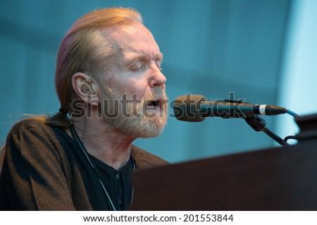 LINCOLN, CA - June 29: Gregg Allman performs at Thunder Valley Casino Resort in Lincoln, California on June 29, 2014 - stock photo
