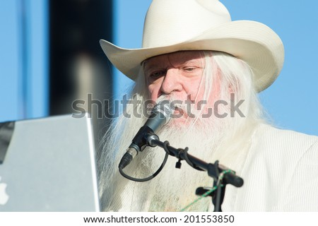 LINCOLN, CA - June 29: Leon Russell performs at Thunder Valley Casino Resort in Lincoln, California on June 29, 2014 - stock photo
