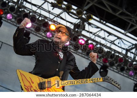 LINCOLN, CA - June 6: Rick Nielsen of Cheap Trick performs at Thunder Valley Casino Resort in in Lincoln, California on June 6, 2015 - stock photo