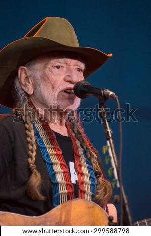 LINCOLN, CA - June 17: Willie Nelson performs at Thunder Valley Casino Resort in in Lincoln, California on June 17, 2015 - stock photo