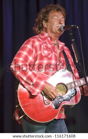 LINCOLN, CA - OCT 19: Henry Paul of Country rock band The Outlaws perform at Thunder Valley Casino Resort in Lincoln, California on October 19th, 2012 - stock photo