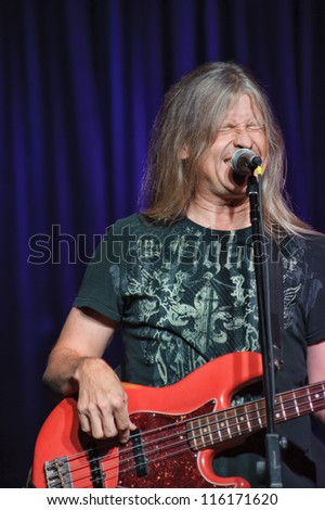 LINCOLN, CA - OCT 19: Randy Threet of Country rock band The Outlaws perform at Thunder Valley Casino Resort in Lincoln, California on October 19th, 2012 - stock photo