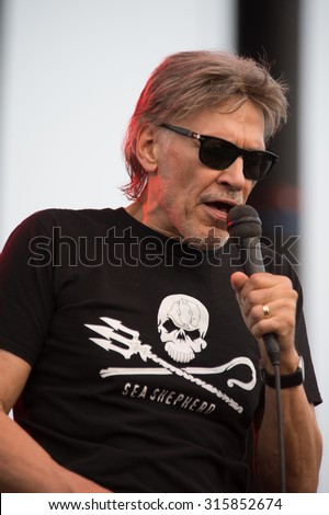 LINCOLN, CA - September 11: Lead singer John Kay of Steppenwolf performs on stage at Thunder Valley Casino Resort in in Lincoln, California on September 11, 2015