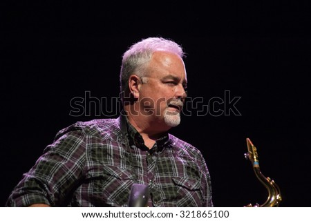 LINCOLN, CA - September 25: Mark Douthit performs with Michael McDonald on stage at Thunder Valley Casino Resort in in Lincoln, California on September 25, 2015 - stock photo