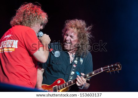 LINCOLN, CA - September 5: Sammy Hagar (R) and Dave Manaketti perform in support of Sammy Hagar's 'Forty Decades of Rock' tour at Thunder Valley Casino in Lincoln, California on September 5, 2013