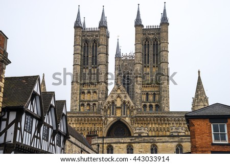 Lincoln Cathedral, Lincoln, England, viewed from street level. It was built from 1088 over several phases - stock photo