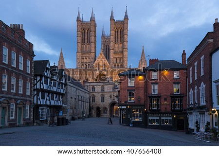 LINCOLN, ENGLAND - MARCH 21: Lincoln Cathedral from the market square in Lincoln on March 21 2016 in Lincoln, England. - stock photo