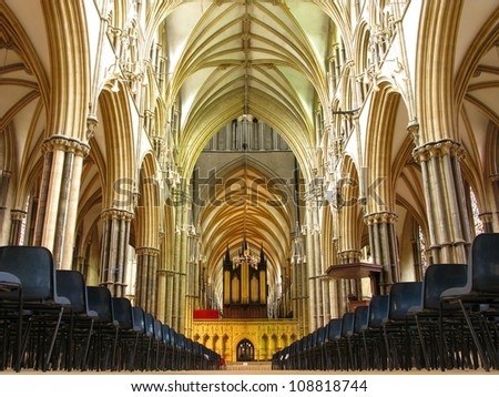 LINCOLN, LINCOLNSHIRE-JULY 3:The nave of Lincoln Cathedral on July 3, 2012. A cathedral of great historic importance with Norman and gothic architecture - stock photo