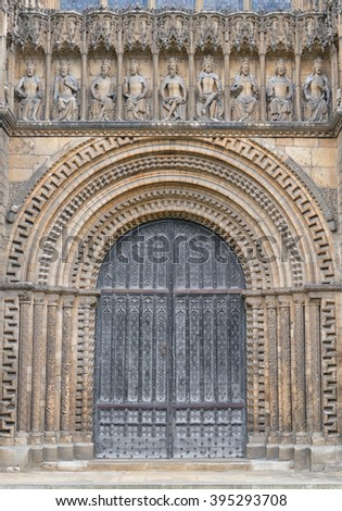 LINCOLN, LINCOLNSHIRE-MARCH 10:Doorway to Lincoln Cathedral on March 10, 2015. A cathedral of great historic importance with Norman and gothic architecture