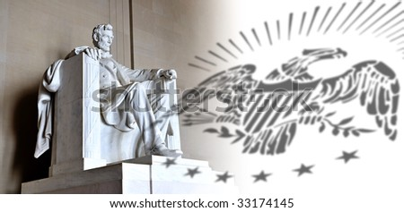 Lincoln Memorial and eagle - stock photo