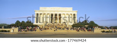 Lincoln Memorial and tourists in morning, Washington DC - stock photo