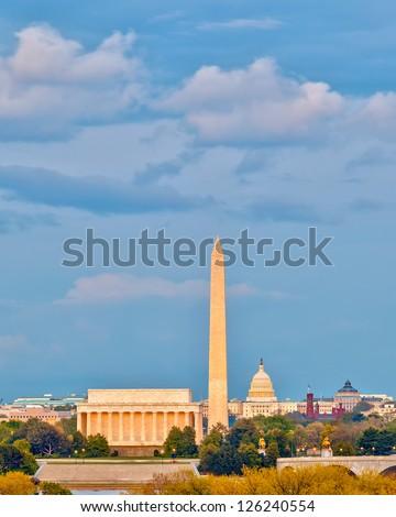 Lincoln memorial and US Capitol, Washington DC - stock photo