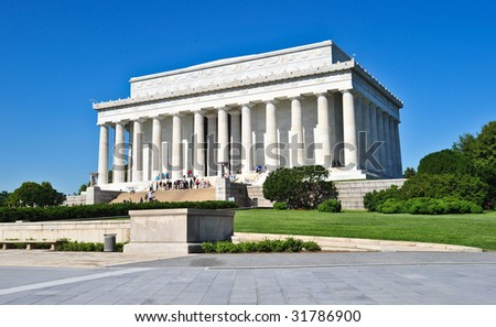 Lincoln memorial as seen from West Potomac Park, Washington DC. - stock photo