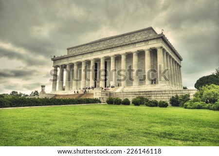 Lincoln Memorial at a cloudy sky in vintage style, Washington DC, District of Columbia, USA, HDR - stock photo