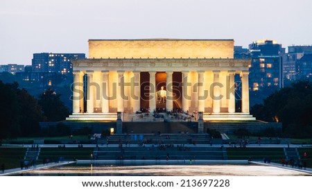 Lincoln Memorial at night, Washington DC, United States - stock photo