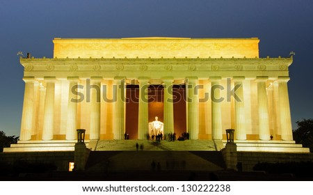 Lincoln Memorial at the National Mall. Washington DC - stock photo