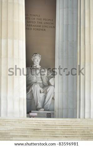 Lincoln Memorial close-up in Washington DC, USA - stock photo