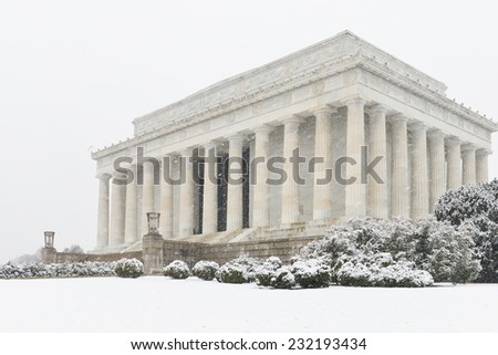 Lincoln Memorial in snow - Washington DC, United States of America