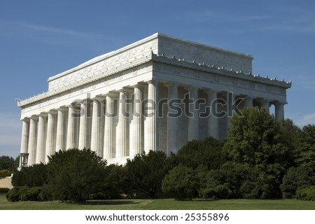 Lincoln Memorial, in Washington, D.C.,built to honor 16th President Abraham Lincoln by architect Henry Bacon - stock photo