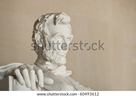 Lincoln Memorial in Washington DC. Close up of head. Focus on face.