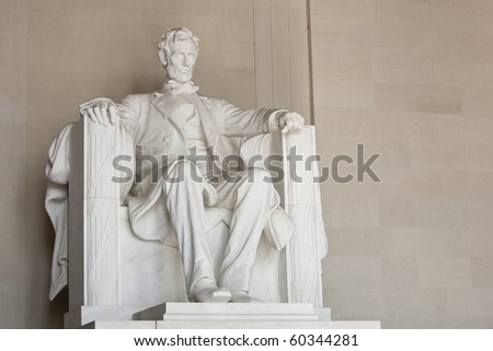 Lincoln Memorial in Washington DC. View of entire sculpture. - stock photo