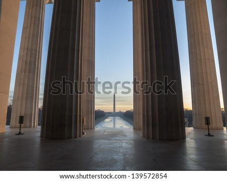 Lincoln Memorial view towards Washington Monument and the mall at dawn. - stock photo