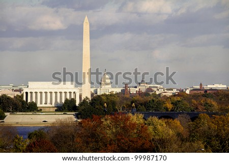 Lincoln Memorial, Washington Monument and Capitol building aligned in the fall, DC, United States - stock photo