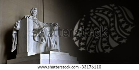 Lincoln Memorial with stars and stripes - stock photo