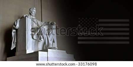 Lincoln Memorial with US flag - stock photo