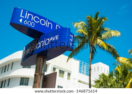 Lincoln Road and Pennsylvania Avenue street signs located in Miami Beach. - stock photo