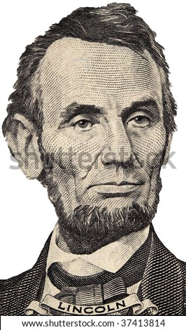 Lincoln's portrait on the U.S. five dollar bill on a white background - stock photo